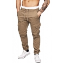 Men's Simple Plain Drawstring Waist Relaxed Fit Outdoor Cargo Pants