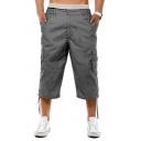Summer Popular Solid Color Flap Pocket Ribbon Hem Cropped Ribbon Hem Pants for Men