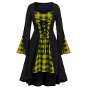 Chic Cool Girls' Bell Sleeve Sweetheart Neck Plaid Pattern Patched Lace Up Midi Pleated A-Line Dress