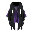 Unique Girls' Bell Sleeve Square Neck Bow Tie Lace Up Sequined Patched Contrasted Asymmetric Midi Pleated A-Line Dress