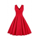 Formal Stylish Ladies Plain Sleeveless Surplice Neck Bow Tie Zip Side Midi Wrap Pleated Flared Evening Dress
