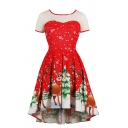 Cute Pretty Girls' Short Sleeve Crew Neck Christmas Printed See Through Lace Mid Pleated Flared Dress in Red
