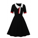 Women's Fancy Formal Short Sleeve Lapel Collar Button Front Stripe Print Long Pleated Flared Dress in Black