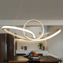 Gold Twist Chandelier Lighting Simple Style Acrylic LED Pendant Light Kit in Warm/White Light