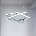 Rectangle Ceiling Pendant Light Contemporary Metal White LED Chandelier Lamp in Warm/White Light