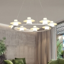 Circular Acrylic Chandelier Lamp Contemporary 6/8 Heads White Hanging Light Fixture in Warm/White Light