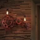 Bicycle Gear Sconce Light Fixture Antiqued Iron 2 Lights Open Bulb Wall Sconce Light Fixture for Coffee Shop