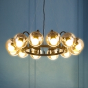 Modernism Orb Chandelier Light with Metal Ring 12 Lights Cognac Glass Ceiling Hanging Light