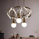 Metal Wave Chandelier Light with Globe Silica Gel Shade Modern Hanging Ceiling Light in Bronze