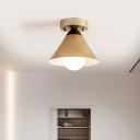 Cone Metal Flush Light Fixture Antique 1 Light Gold Ceiling Flush Mount for Corridor