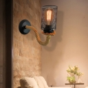 Metal Black Sconce Cylinder 1 Light Industrial Style Wall Mounted Light Fixture with Rope Arm