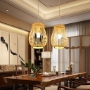 1 Light Dining Room Pendant Lamp Asia Style Beige Hanging Light Kit with Pawpaw Bamboo Shade