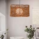 Rectangle Rattan Hanging Ceiling Light Modern 1 Light Brown Pendant Lighting Fixture