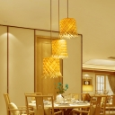 Fringe Suspension Pendant Asia Style Bamboo 1 Light Dining Room Hanging Ceiling Light in Beige