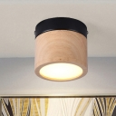 Round Wood Flush Light Contemporary 16