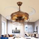 5 Bulbs Bare Bulb Ceiling Fan Traditional Rust Metal Semi Flush Light for Living Room