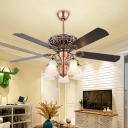 Cream Prismatic Glass Brown Ceiling Fan Lighting Bell 5 Heads Vintage Semi Flush Light Fixture for Bedroom