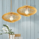 Asian 1 Head Ceiling Lighting Wood Lantern Hanging Light Fixture with Bamboo Shade