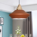 Jar Metal Pendant Lamp Macaron 1 Bulb Pink/Coffee Hanging Light Fixture with Wood Cap
