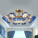 Blue Grid Patterned Ceiling Fixture Mediterranean 3/5/11 Lights Stained Glass Semi Flush Mount Lamp