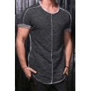 Exclusive Solid Color Short Sleeve Crewneck Arc Hem Inverted Seam Summer Heathered T-Shirt