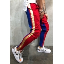 New Fashion Colorblock Stripe Patch Skinny Fit Pencil Pants for Men
