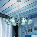 Cut Glass Conical Chandelier Lighting Fixture Baroque 3/6/8 Lights Blue/Dark Blue Pendant Lamp for Living Room