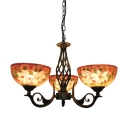 Blossom Chandelier Light Mediterranean Stained Art Glass 3/7 Lights Bronze Hanging Lamp Kit