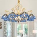 Cut Glass Blue Chandelier Pendant Light Beaded 3/5/6 Lights Baroque Suspension Lighting Fixture