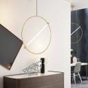 Round Hanging Lighting Minimalist Metal 1 Bulb Gold Ceiling Pendant Light, 16