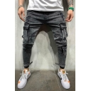 Gray Leisure Washed Denim Velcro Embellished Stretch Fit Jeans Skinny Cargo Pants