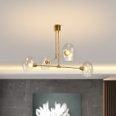 Contemporary Oval Ceiling Chandelier Clear Glass 4 Bulbs Living Room Hanging Pendant Light