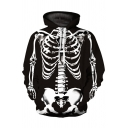 Classic Skeleton 3D Pattern Long Sleeve Relaxed Fit Drawstring Hoodie in Black