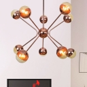 Amber Glass Orb Chandelier Light Modernist 12 Bulbs Pendant Lighting Fixture in Rose Red with Metal Arm