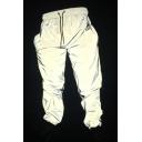 Hip Hop Fashion Gray Drawstring Waist Loose Fit Reflective Pants for Men