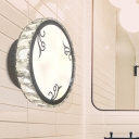 LED Bedroom Wall Sconce Lighting Simple White Wall Light Fixture with Circular Hand-Cut Crystal Shade in Warm/White Light