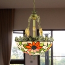 3/4 Bulbs Blossom Chandelier Lighting Tiffany Red/Green Stained Glass Pendant Light for Living Room