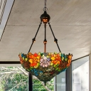 2/3 Bulbs Blossom Chandelier Lighting Tiffany Red/Green/Orange Stained Glass Pendant Light for Living Room
