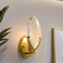 Traditionalism Oval Wall Mount Lamp 1 Light Crystal Block Wall Sconce Lighting in Gold
