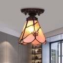 1 Lights Living Room Flush Mount Lighting Tiffany Bronze Ceiling Light Fixture with Flower/Flared/Rhombus Pink Stained Glass Shade
