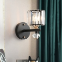 1 Bulb Bedroom Wall Lamp Modern Black Sconce Light Fixture with Drum Fluted Glass Shade