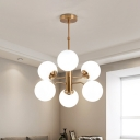 Modern 6 Bulbs Ceiling Chandelier Gold Round Hanging Light Kit with White Glass Shade