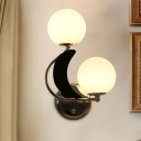 Armed Sconce Modernist Metal 2 Bulbs Chrome Wall Light Fixture with Opal Frosted Glass Shade
