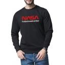 Popular Letter NASA Printed Long Sleeves Crew Neck Black Casual Sweatshirt