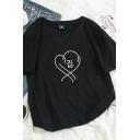 Korean Style Lovely Heart Printed Short Sleeves Crew Neck Leisure T-Shirt