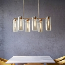 Champagne Cylinder Island Lamp Modernist 6 Heads Clear Glass Hanging Light Fixture for Dining Room