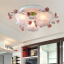 Traditional Bloom Ceiling Mounted Light 3 Bulbs Opaline Glass Flush Mount Light Fixture in Pink for Bedroom