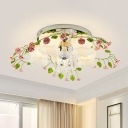 White Glass Leaf Ceiling Lighting Countryside 5 Heads Living Room Flush Mount Fixture with Dangling Crystal
