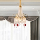 Crystal Gold Chandelier Light Fixture Chain 4 Lights Traditional Down Lighting Pendant for Bedroom