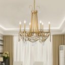 Chain Living Room Hanging Chandelier Traditional-Style Crystal 6 Lights Gold Ceiling Hang Fixture